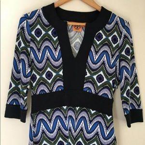 Tory Burch Dress Multi Color Print Silk Blue Black